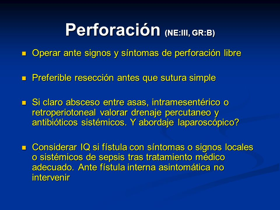Perforación (NE:III, GR:B)