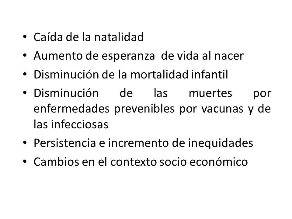 Caída de la natalidad Aumento de esperanza de vida al nacer. Disminución de la mortalidad infantil.