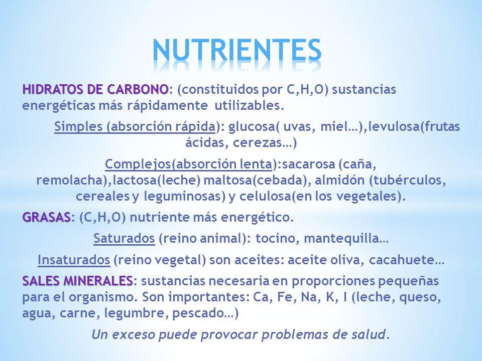 NUTRIENTES HIDRATOS DE CARBONO: (constituidos por C,H,O) sustancias energéticas más rápidamente utilizables.