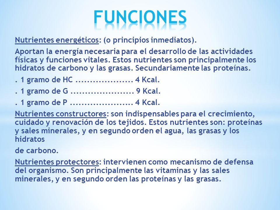 FUNCIONES Nutrientes energéticos: (o principios inmediatos).