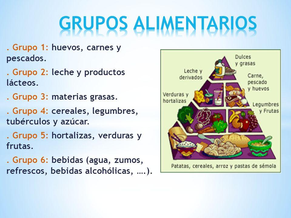 GRUPOS ALIMENTARIOS . Grupo 1: huevos, carnes y pescados.