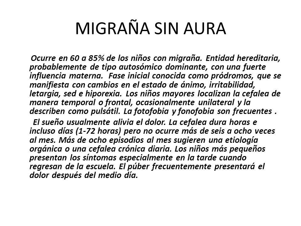 MIGRAÑA SIN AURA