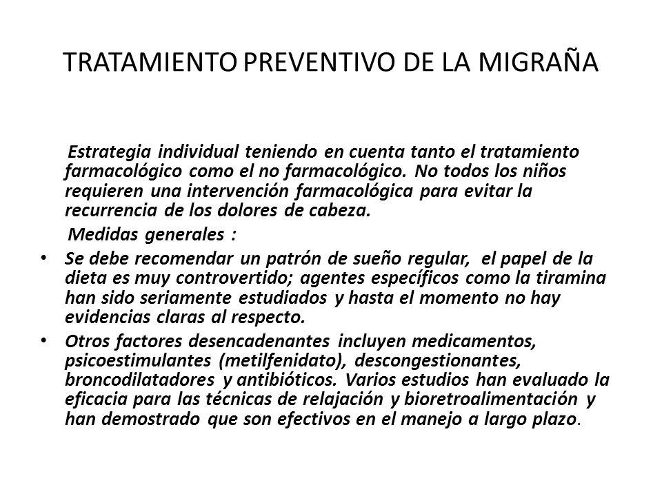 TRATAMIENTO PREVENTIVO DE LA MIGRAÑA