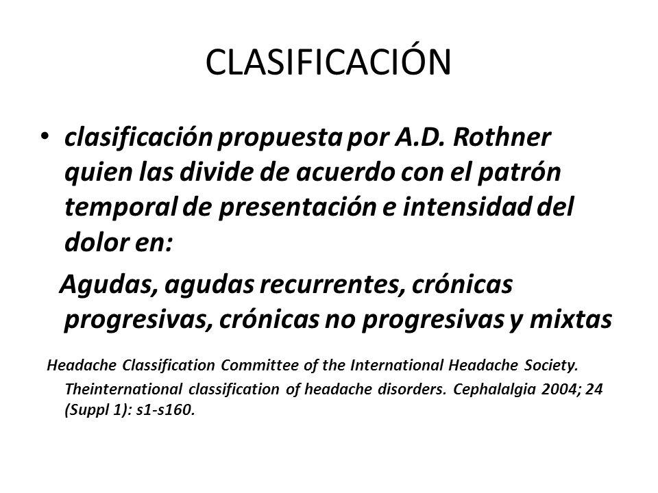 CLASIFICACIÓN clasificación propuesta por A.D. Rothner quien las divide de acuerdo con el patrón temporal de presentación e intensidad del dolor en:
