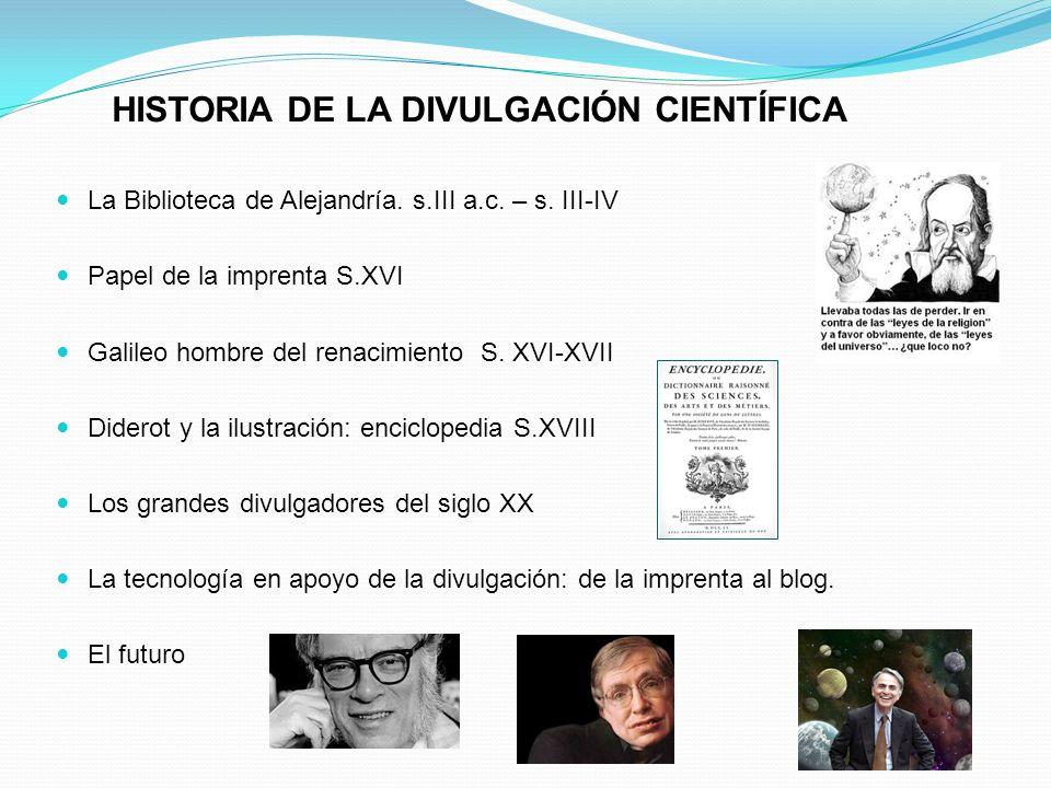 HISTORIA DE LA DIVULGACIÓN CIENTÍFICA