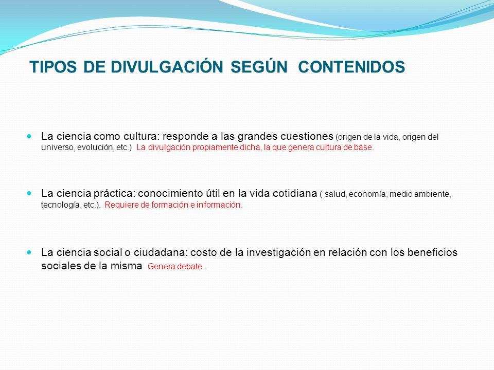 TIPOS DE DIVULGACIÓN SEGÚN CONTENIDOS