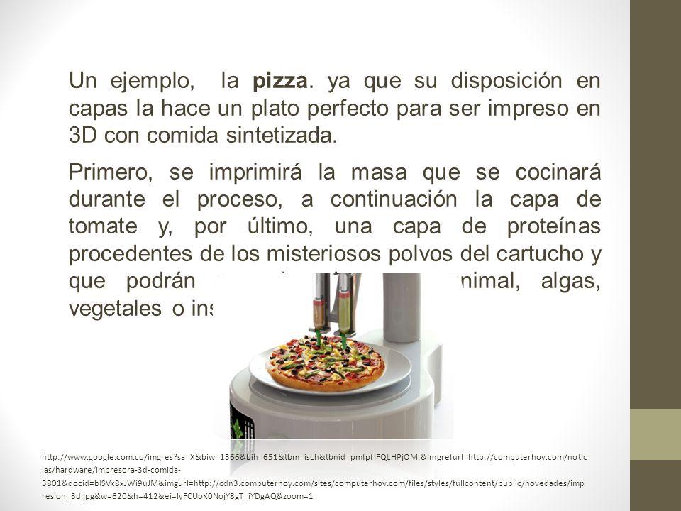 Un ejemplo, la pizza. ya que su disposición en capas la hace un plato perfecto para ser impreso en 3D con comida sintetizada.