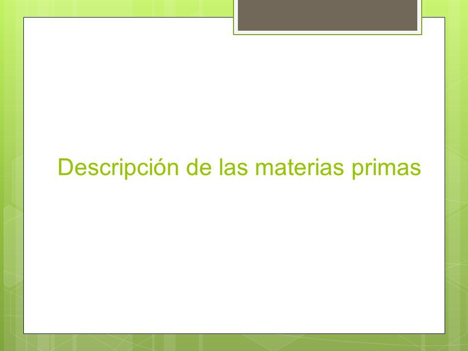 Descripción de las materias primas