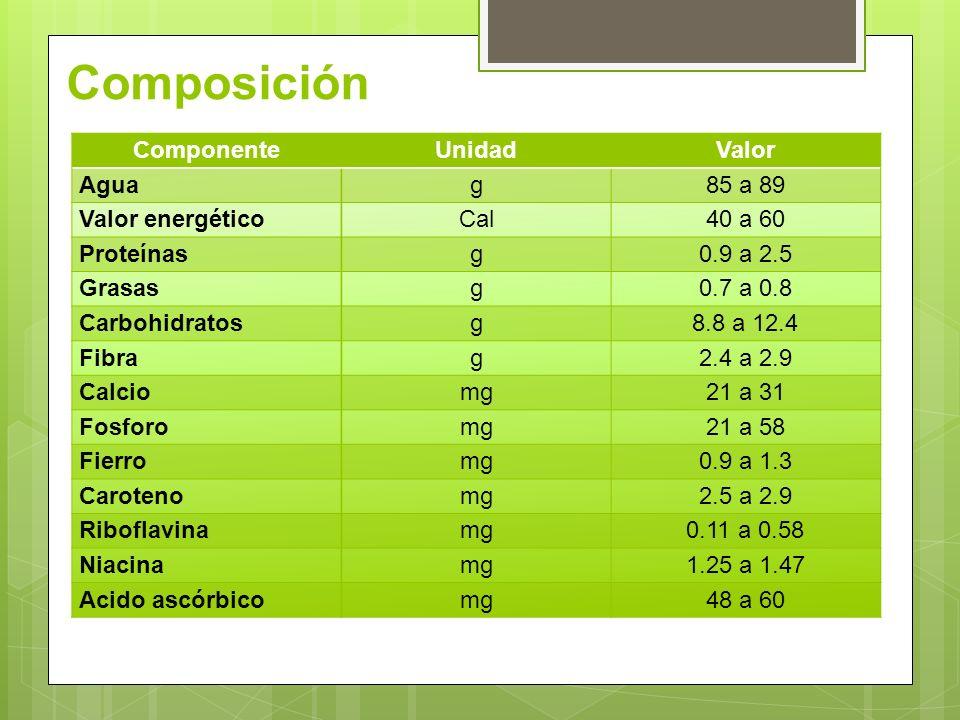 Composición Componente Unidad Valor Agua g 85 a 89 Valor energético