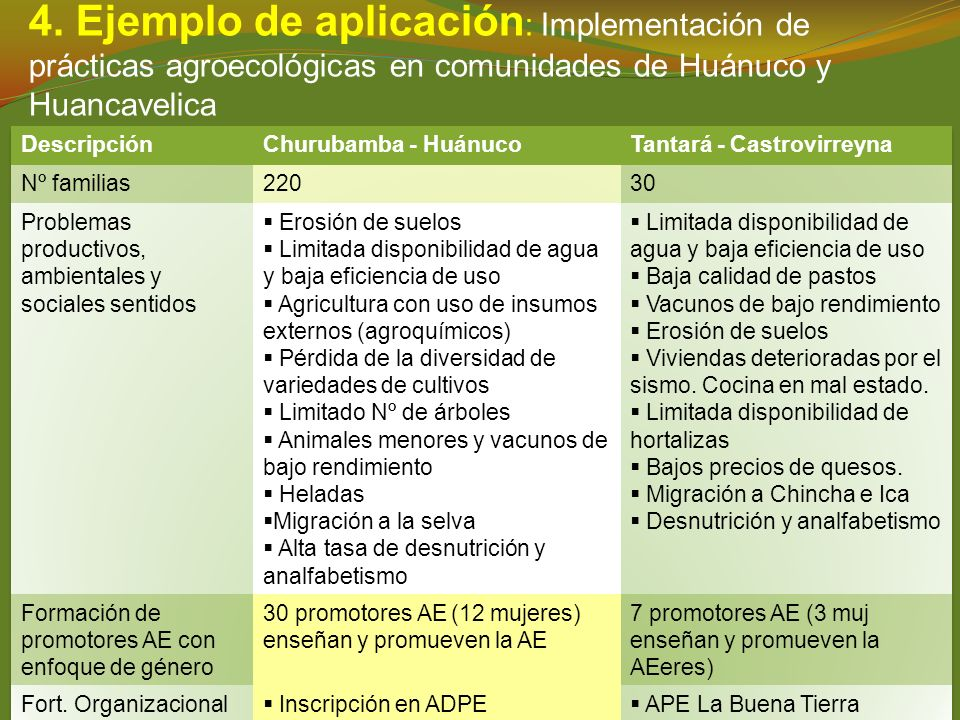 4. Ejemplo de aplicación: Implementación de prácticas agroecológicas en comunidades de Huánuco y Huancavelica