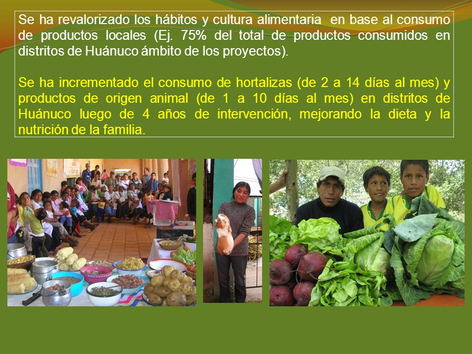 Se ha revalorizado los hábitos y cultura alimentaria en base al consumo de productos locales (Ej. 75% del total de productos consumidos en distritos de Huánuco ámbito de los proyectos).