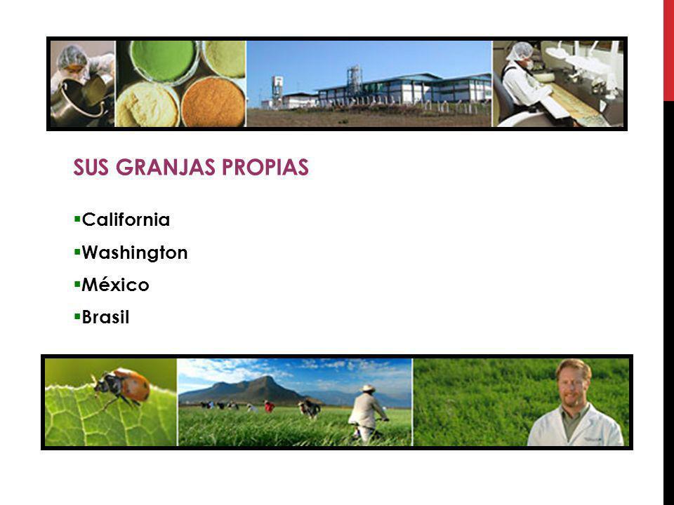 Sus Granjas propias California Washington México Brasil