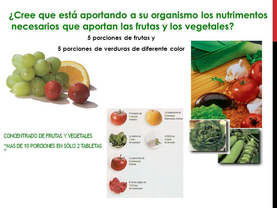 5 porciones de verduras de diferente color