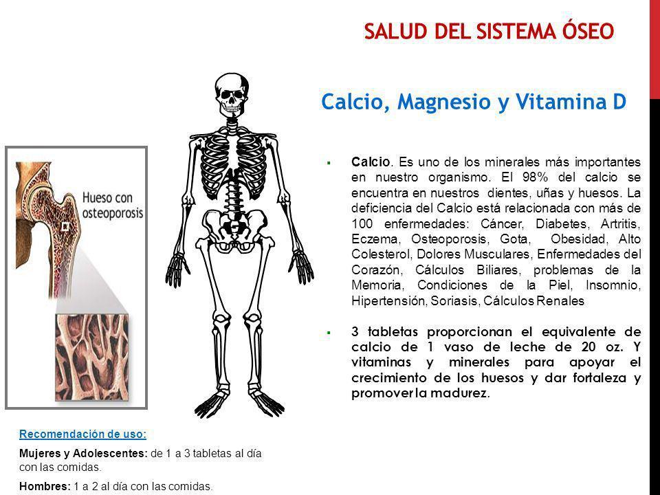 Salud del SISTEMA ÓSEO Calcio, Magnesio y Vitamina D