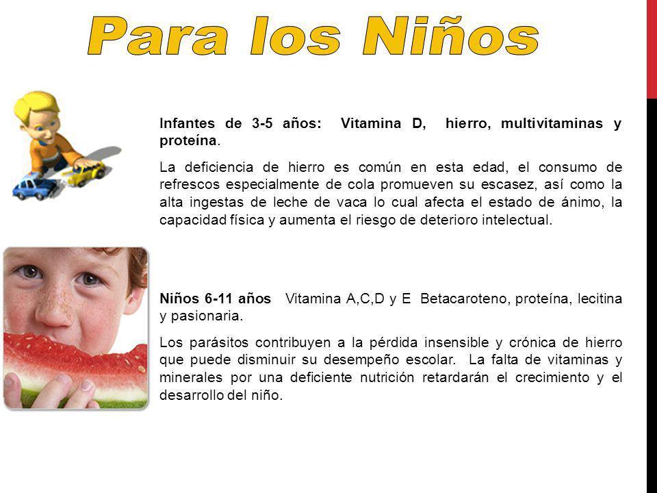Para los Niños Infantes de 3-5 años: Vitamina D, hierro, multivitaminas y proteína.
