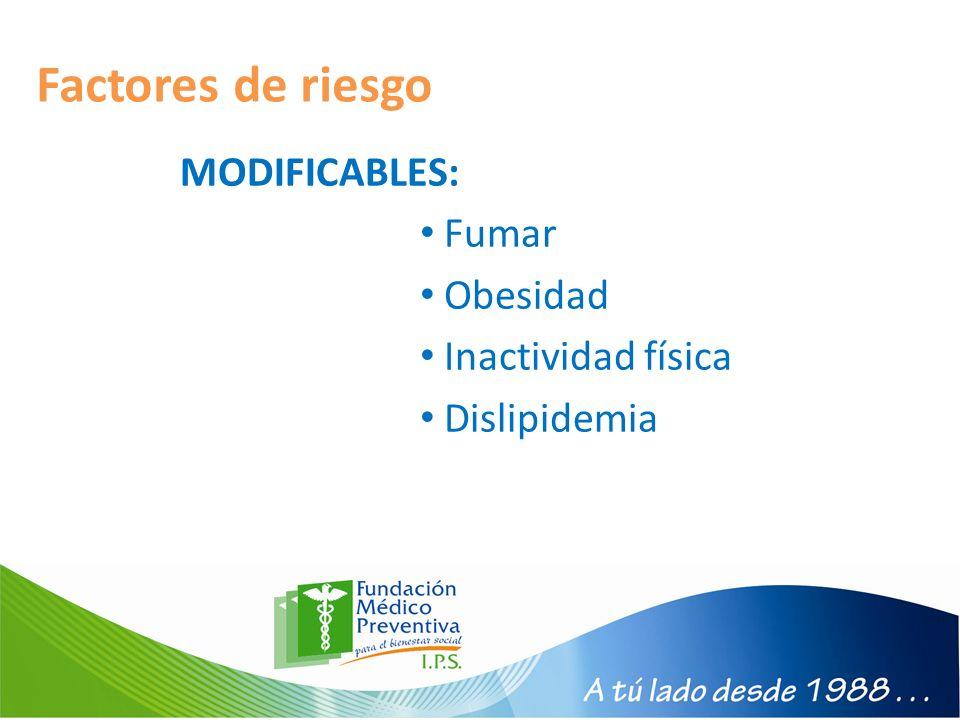 Factores de riesgo MODIFICABLES: Fumar Obesidad Inactividad física