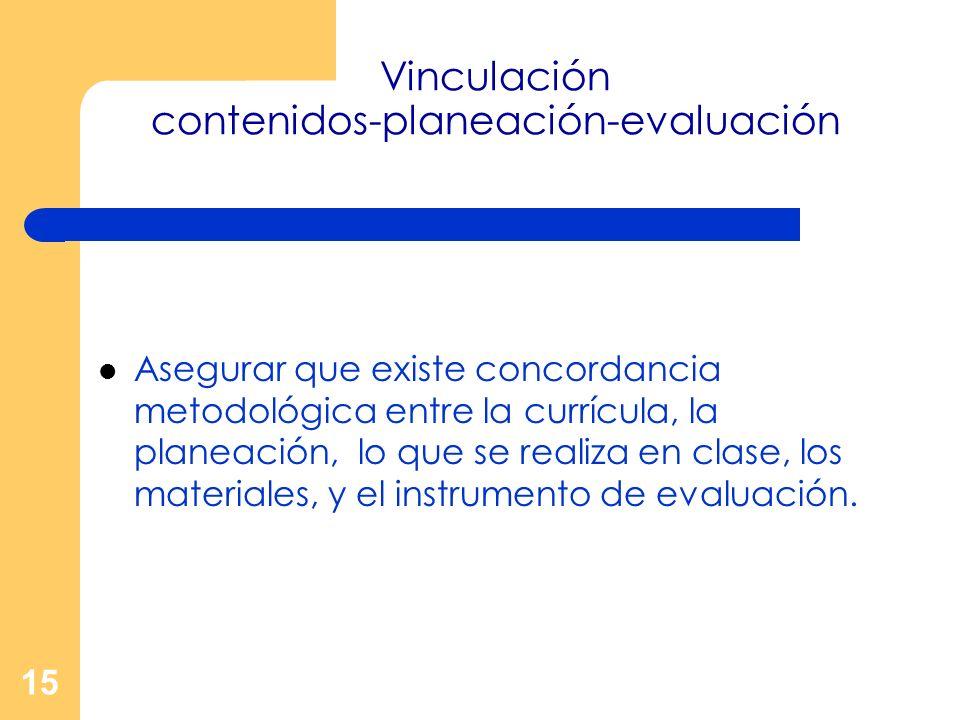 Vinculación contenidos-planeación-evaluación