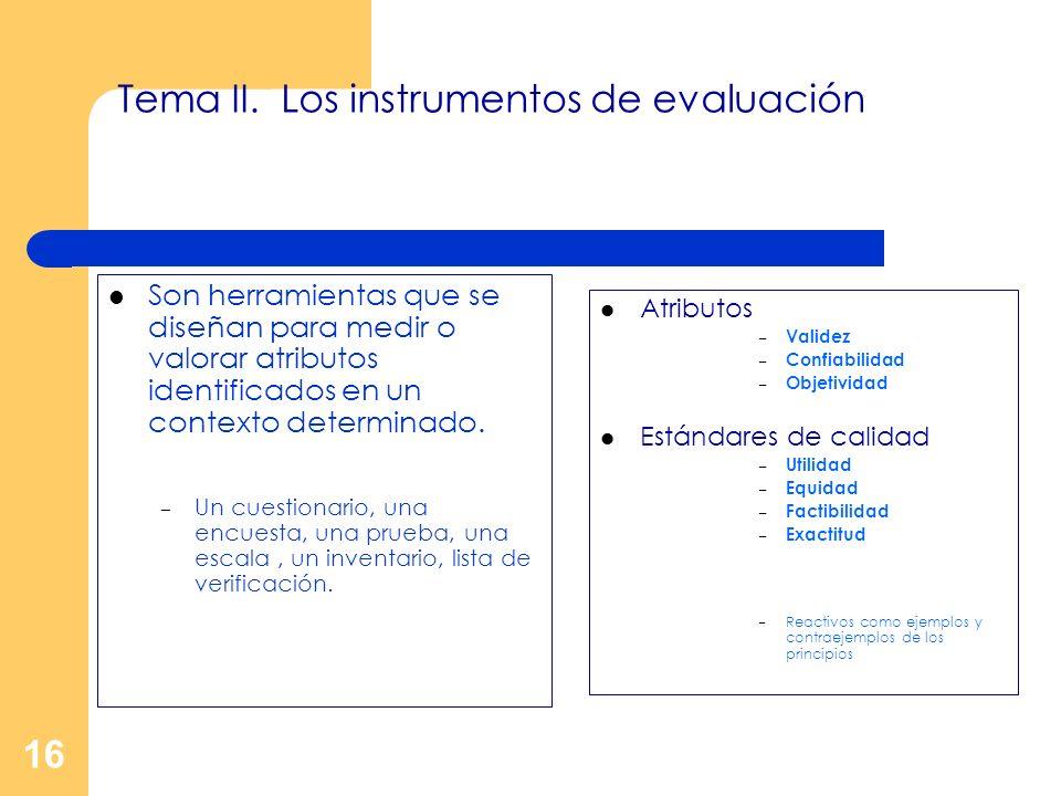 Tema II. Los instrumentos de evaluación