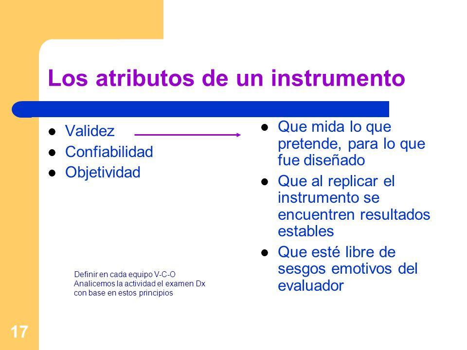 Los atributos de un instrumento