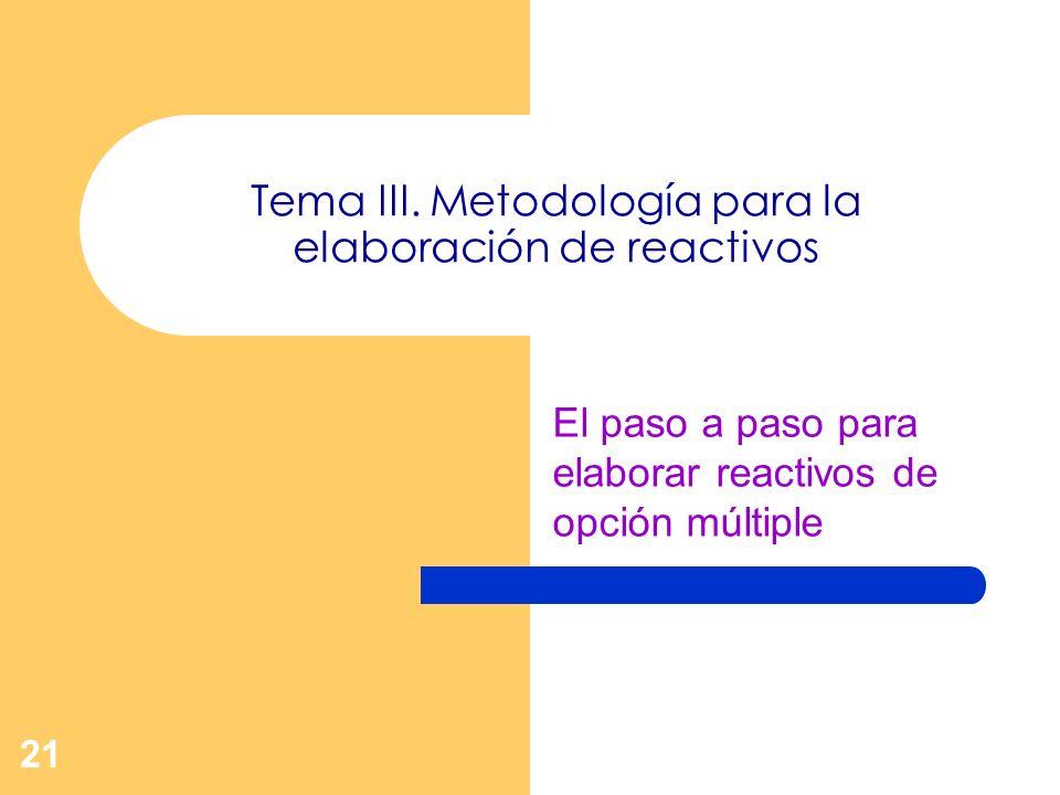 Tema III. Metodología para la elaboración de reactivos
