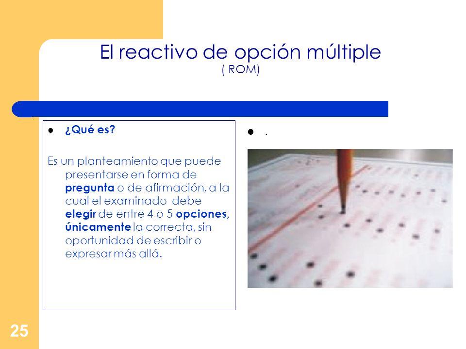 El reactivo de opción múltiple ( ROM)