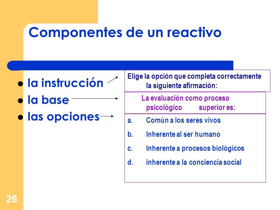 Componentes de un reactivo