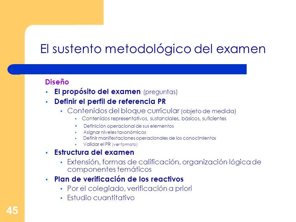 El sustento metodológico del examen