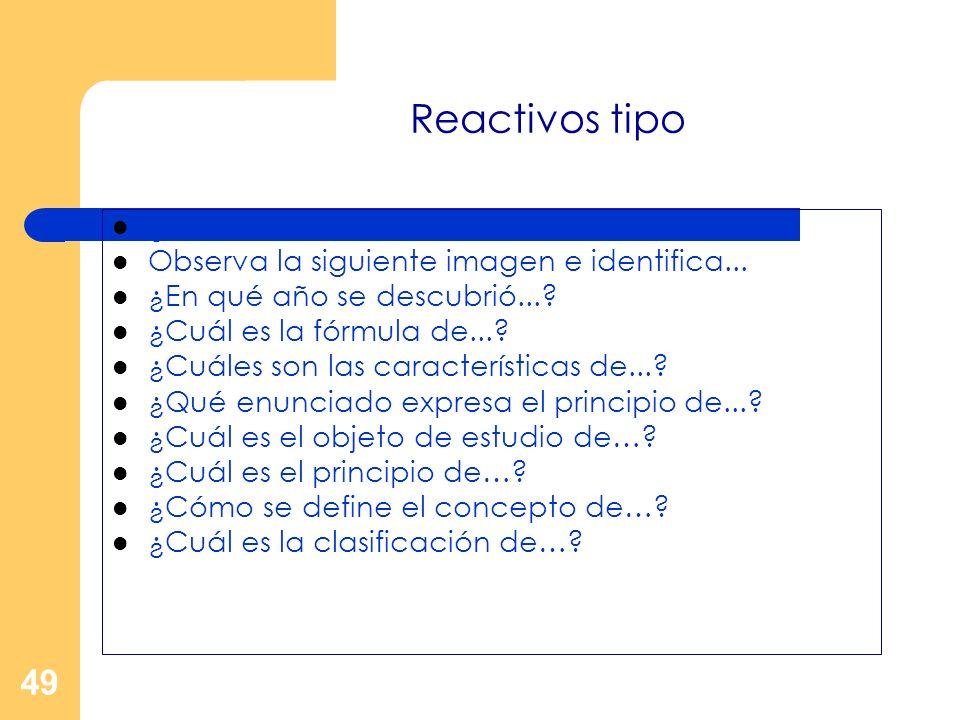 Reactivos tipo ¿Qué enunciado define el término de...
