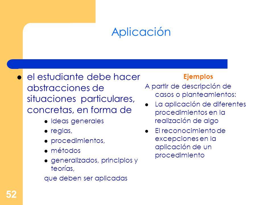 Aplicación el estudiante debe hacer abstracciones de situaciones particulares, concretas, en forma de.