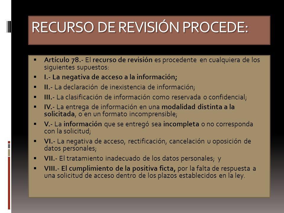 RECURSO DE REVISIÓN PROCEDE: