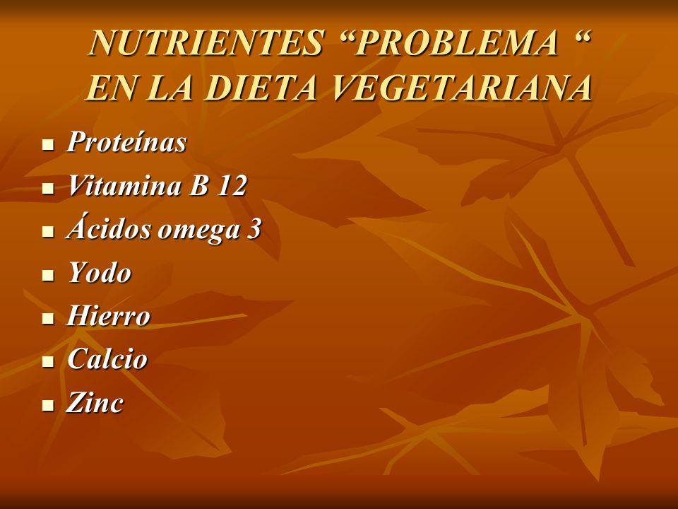 NUTRIENTES PROBLEMA EN LA DIETA VEGETARIANA