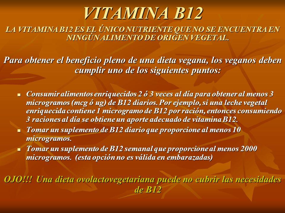 VITAMINA B12 LA VITAMINA B12 ES EL ÚNICO NUTRIENTE QUE NO SE ENCUENTRA EN NINGÚN ALIMENTO DE ORIGEN VEGETAL.