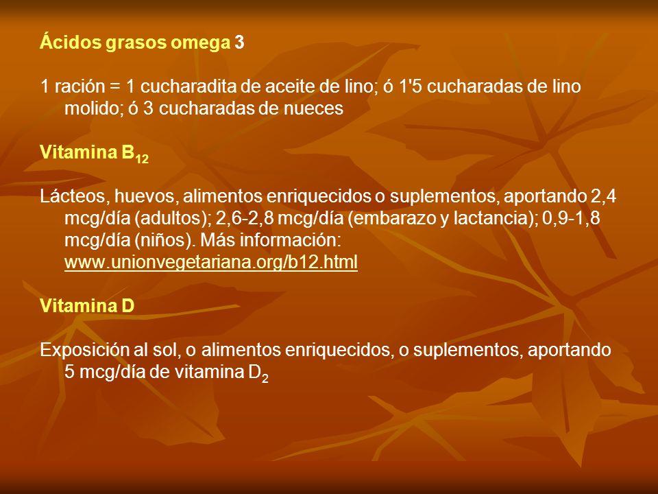 Ácidos grasos omega 3 1 ración = 1 cucharadita de aceite de lino; ó 1 5 cucharadas de lino molido; ó 3 cucharadas de nueces.