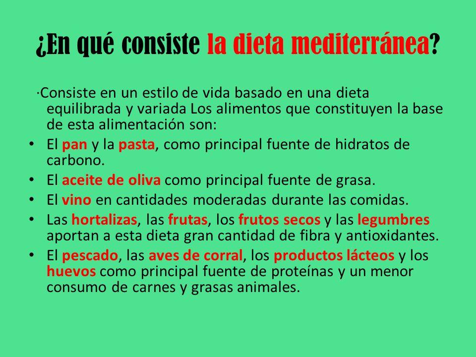 ¿En qué consiste la dieta mediterránea