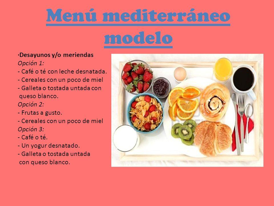 Menú mediterráneo modelo