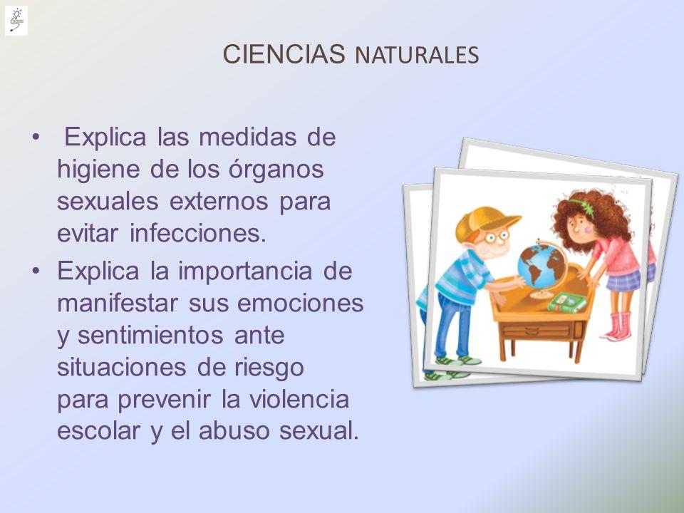 CIENCIAS NATURALES Explica las medidas de higiene de los órganos sexuales externos para evitar infecciones.
