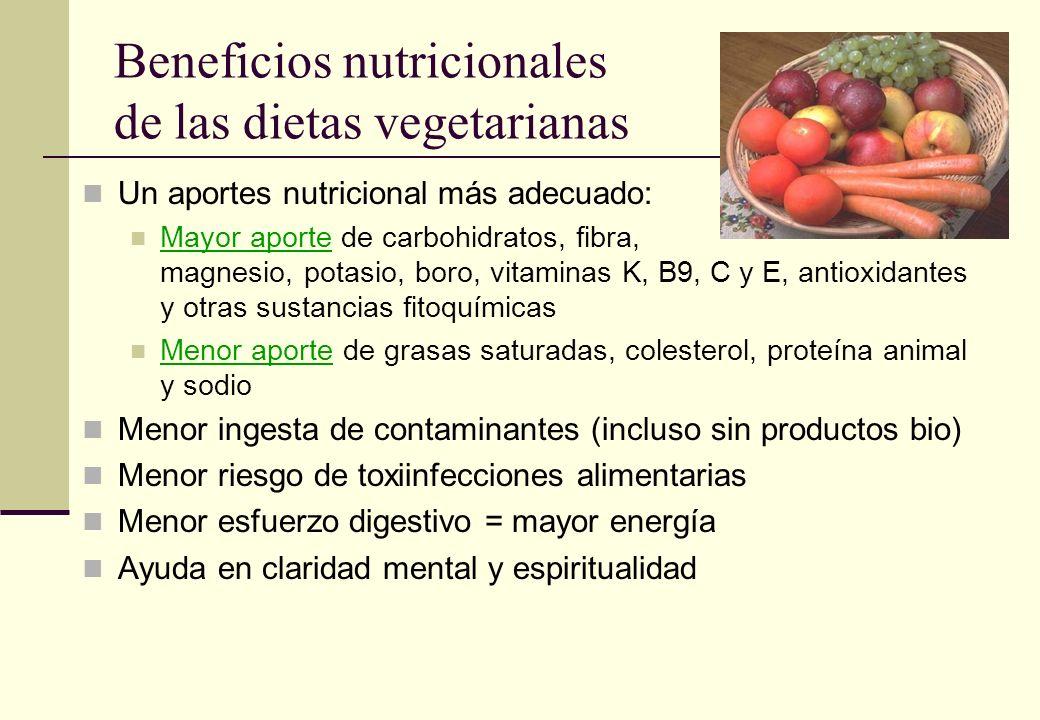 Beneficios nutricionales de las dietas vegetarianas