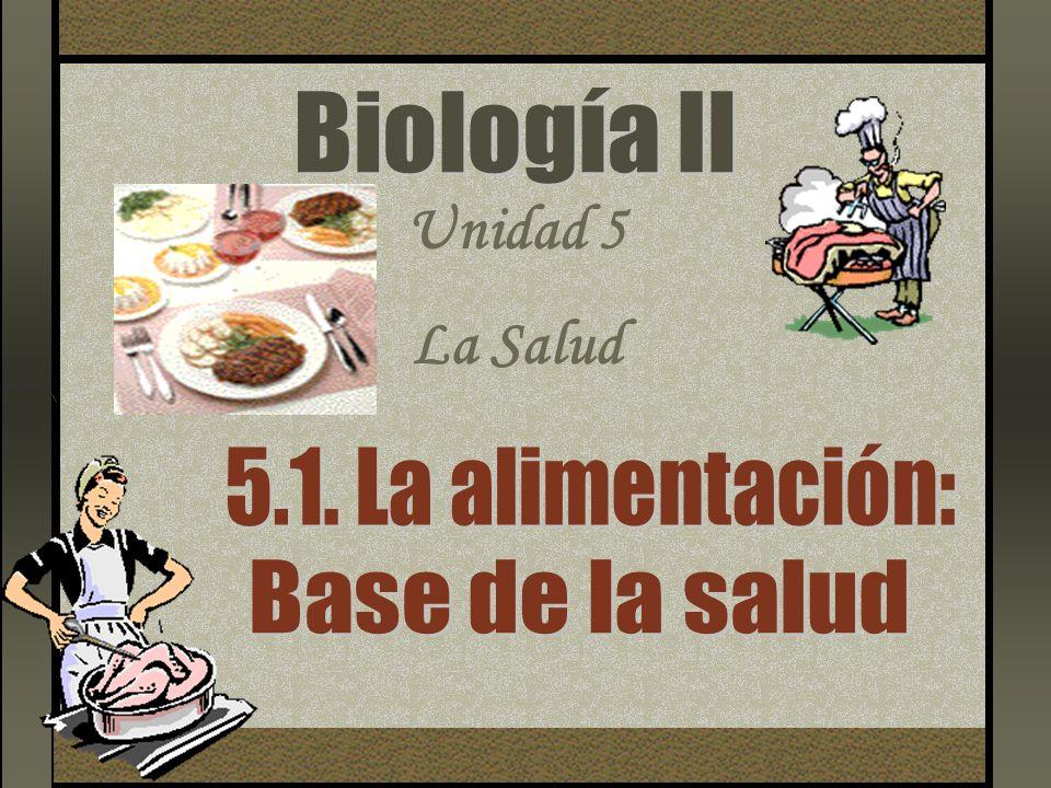 Biología Il Unidad 5 La Salud 5.1. La alimentación: Base de la salud