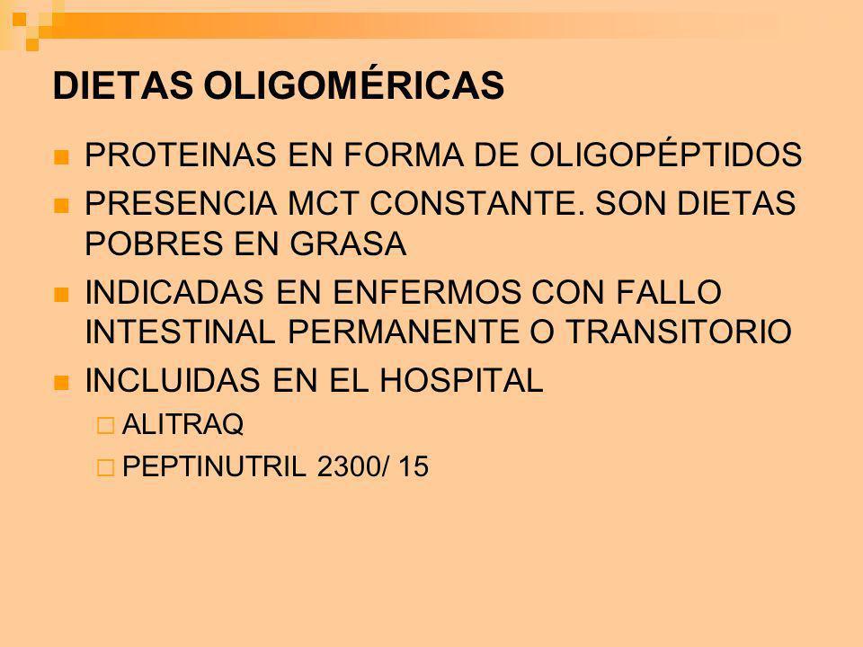DIETAS OLIGOMÉRICAS PROTEINAS EN FORMA DE OLIGOPÉPTIDOS