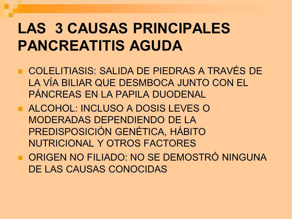 LAS 3 CAUSAS PRINCIPALES PANCREATITIS AGUDA