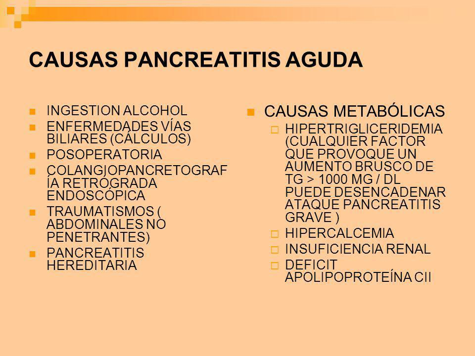 CAUSAS PANCREATITIS AGUDA