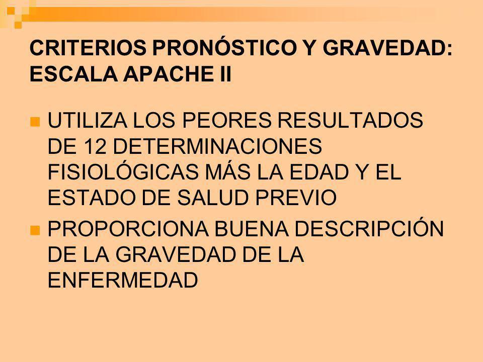 CRITERIOS PRONÓSTICO Y GRAVEDAD: ESCALA APACHE II