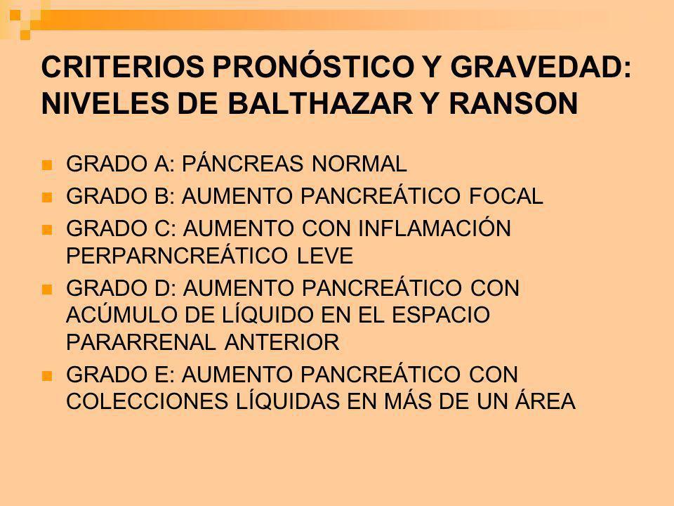 CRITERIOS PRONÓSTICO Y GRAVEDAD: NIVELES DE BALTHAZAR Y RANSON