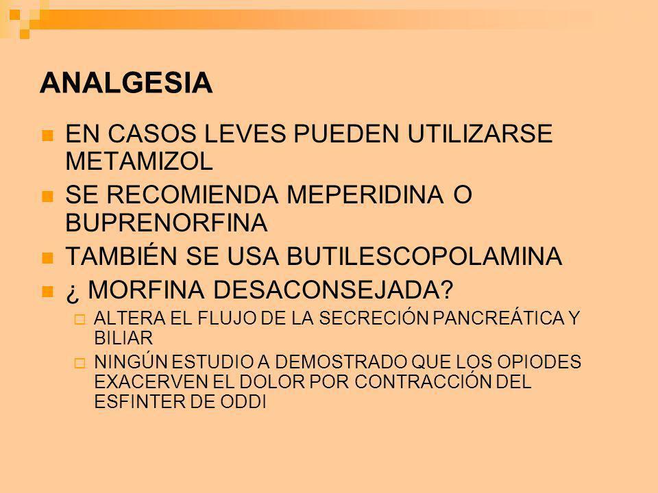 ANALGESIA EN CASOS LEVES PUEDEN UTILIZARSE METAMIZOL