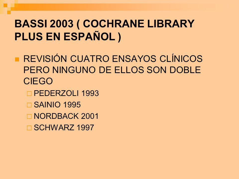 BASSI 2003 ( COCHRANE LIBRARY PLUS EN ESPAÑOL )