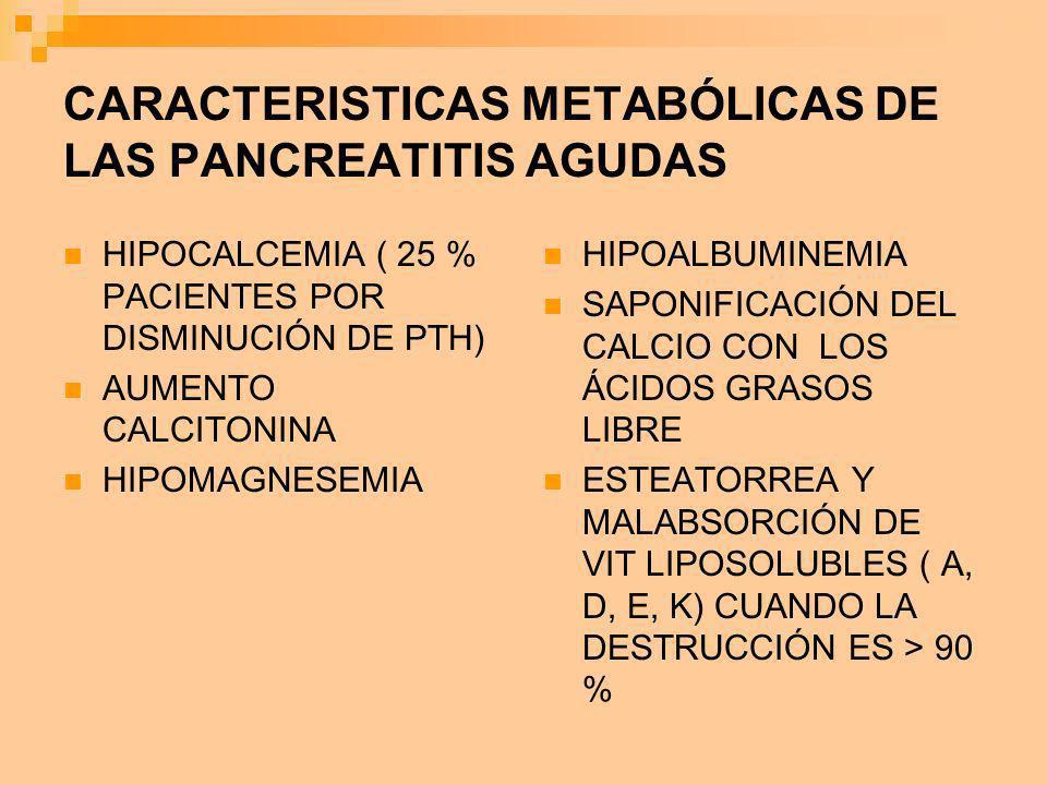 CARACTERISTICAS METABÓLICAS DE LAS PANCREATITIS AGUDAS