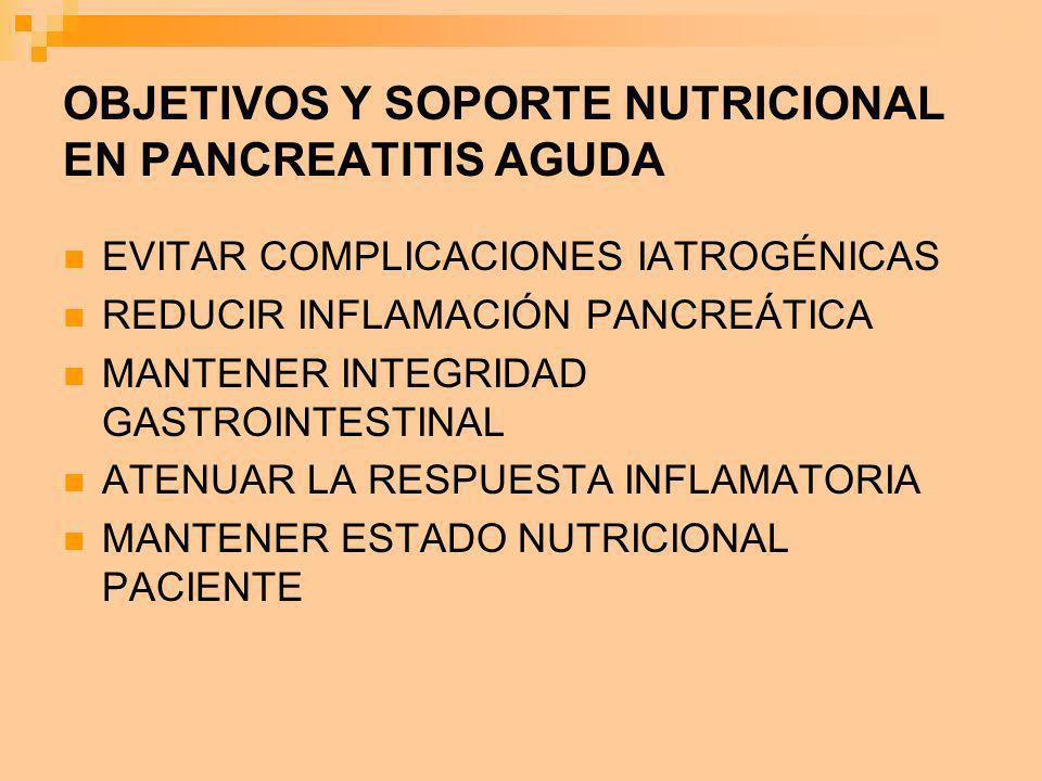 OBJETIVOS Y SOPORTE NUTRICIONAL EN PANCREATITIS AGUDA