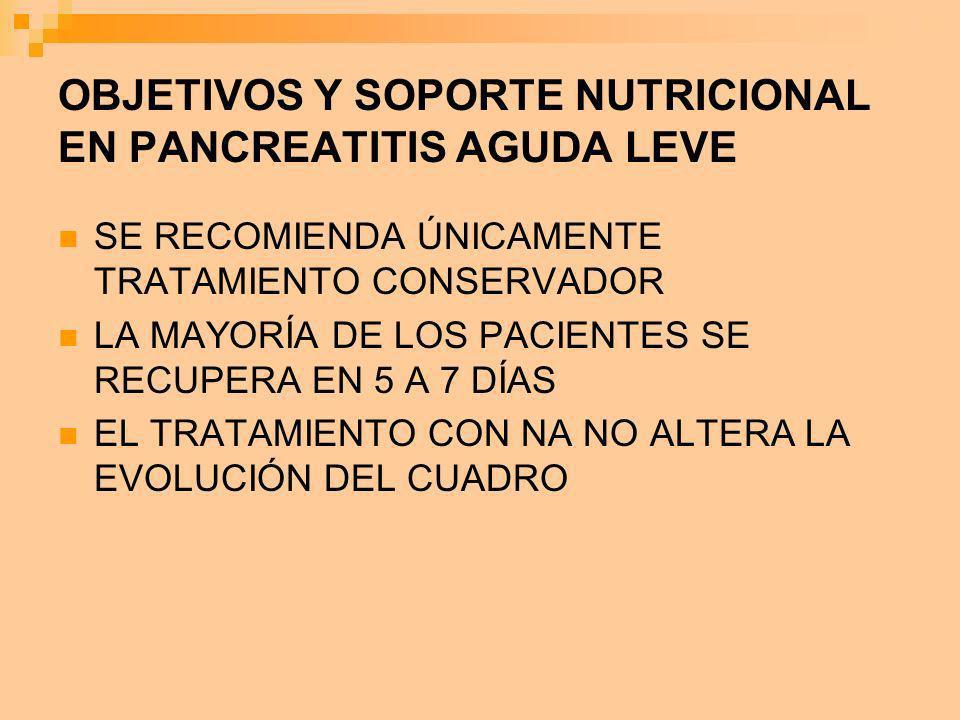 OBJETIVOS Y SOPORTE NUTRICIONAL EN PANCREATITIS AGUDA LEVE