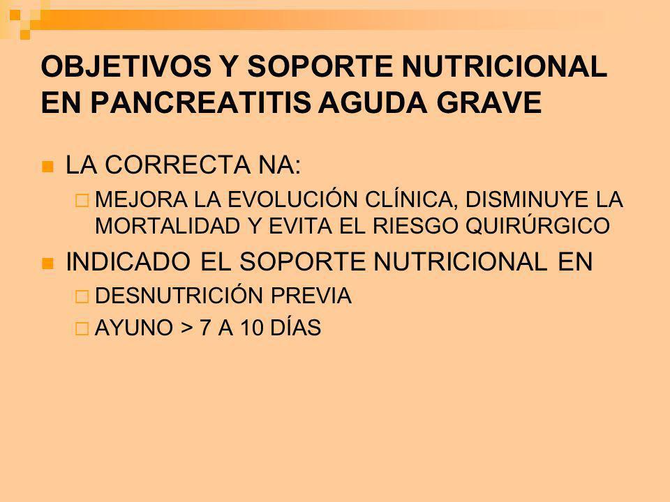 OBJETIVOS Y SOPORTE NUTRICIONAL EN PANCREATITIS AGUDA GRAVE