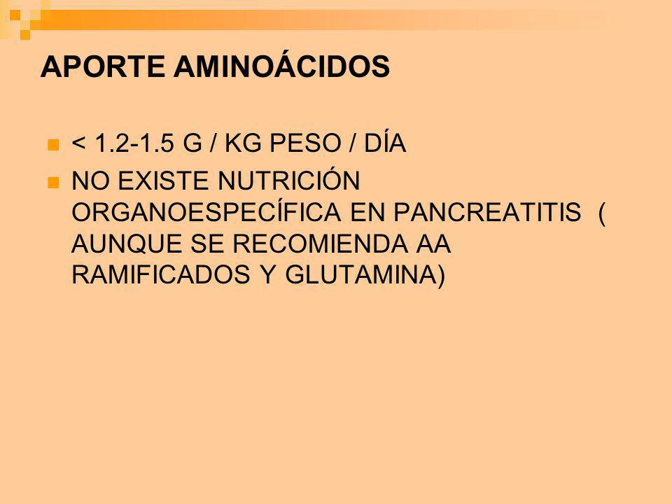 APORTE AMINOÁCIDOS < 1.2-1.5 G / KG PESO / DÍA